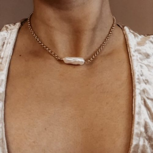 matte gold link chain with white freshwater pearl