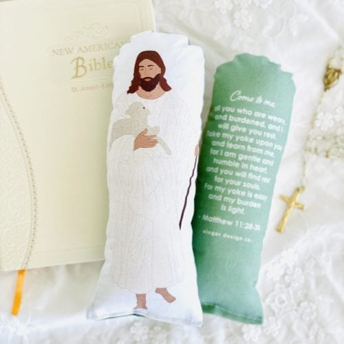 Plush Jesus Prayer Doll, Matthew 11:28-30, Come to Me All You Who Are Weary Bible Verse